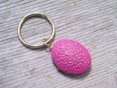 Locket Keychain Floral Vines Locket Pink Floral by LoveLockets