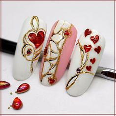 Nail art Christmas - the festive spirit on the nails. Over 70 creative ideas and tutorials - My Nails Heart Nail Designs, Valentine's Day Nail Designs, Nail Polish Designs, Holiday Nails, Christmas Nails, Nail Art Coeur, Hair And Nails, My Nails, Sculpted Gel Nails