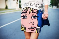 Roy Lichtenstein print skirt.