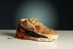 """Nike Air Max 90 Burger by Olle Hemmendorff. """"I constructed a running shoe using the most powerful, must durable and most delicious material known to man: hamburger. Big Mac, Air Max 90, Food Design, Sandwich Original, Original Burger, Creative Food Art, Creative Shoes, Fast Food, Just Eat It"""
