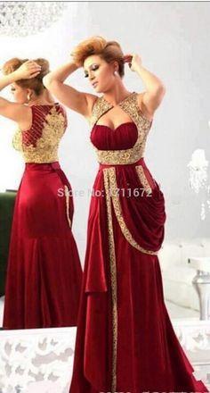 Romantic Vestidos De Novia Vermelho Casamento Bride Dresses Backless Mermaid Lace Gold Red Wedding Dress Indian Plus Size 2015