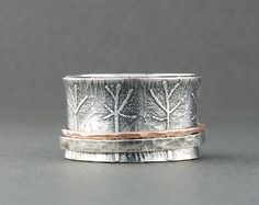 Wisdom Spinner Ring Sterling Silver and 14k Rose Gold by Olive Bungalow