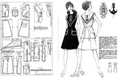 DIY Vintage Navy Dress - FREE Sewing Pattern Draft - could be fun for dressing up/cosplay as well?