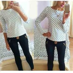 2017 Women Fashion New Round Collar Camisa Dot Chiffon Wave Point Long-Sleeved Shirt Clothes Womens Tops And Chiffon Blouses