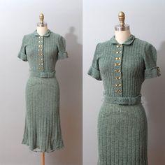 1940s Dress Sage Knit Sweater Dress 40s by OldFaithfulVintage, $75.00