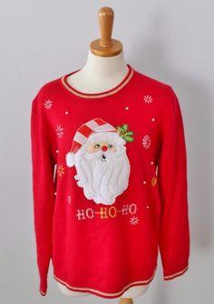 Ugly Christmas Sweater Jumper Women L men M Santa Ho Ho Ho bells red CS17 #na #Crewneck