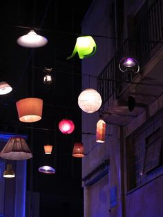 """""""Under a Different Light"""" is a Beforelight project in which residents of Thessaloniki , Greece, donated old, unwanted lamps and lampshades to be recycled into a unique public light art show. Outdoor Art, Outdoor Lighting, Marquee Decoration, Modern Metropolis, Light Installation, Light Art, Lampshades, Light Fixtures, Lanterns"""