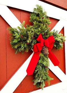 Christmas Cross Wreath ~ love this idea - Thinking of this for 2016 addition to my workshop on making evergreen creations. Merry Little Christmas, Christmas Love, Christmas Cross, Country Christmas, Winter Christmas, All Things Christmas, Christmas Drawing, Beautiful Christmas, Christmas Greenery