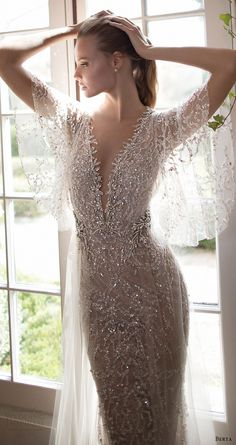BERTA BRIDAL fall 2016 illusion flutter sleeves deep vneck embellished kaftan wedding dress (16 110) mv  #bridal #wedding #weddingdress #weddinggown #bridalgown #dreamgown #dreamdress #engaged #inspiration #bridalinspiration #weddinginspiration #weddingdresses