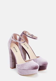 A faux suede platform heel featuring a chunky sole and an adjustable ankle strap buckle closure. Ankle Strap High Heels, Platform High Heels, High Heel Pumps, High Heel Boots, Pumps Heels, Pink Pumps, Ankle Straps, Stiletto Heels, Suede Platform Pumps