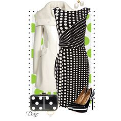 Another black and white fashion look featuring Wallis dresses, L.A.M.B. pumps and Lulu Guinness clutches. Browse and shop related looks.