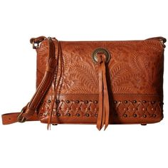 American West Dove Canyon Crossbody (Golden Tan) Cross Body Handbags ($158) ❤ liked on Polyvore featuring bags, handbags, shoulder bags, leather shoulder bag, brown leather crossbody, brown crossbody purse, leather pouch and brown leather handbags