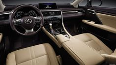 Interior shot of the 2017 Lexus RX shown with Parchment leather trim