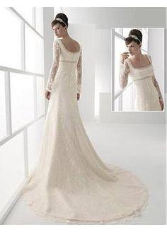 Stunning Lace A-line Square Neckline Wedding Dress Me gusta #Dressilyme #Dressilyme
