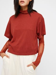 Need You Tee | Essential cotton tee featuring a mock neck with an easy, relaxed fit.