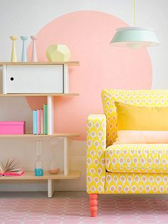 Pastel room with neon accents