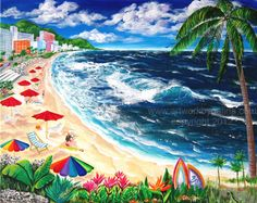 TROPICAL BEACH  Original Abstract Painting on by soulinart1000