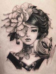 Geisha Tattoos, Tatoo Geisha, Geisha Tattoo Design, Irezumi Tattoos, Japan Tattoo Design, Geisha Tattoo Sleeve, Geisha Drawing, Japanese Tattoo Words, Japanese Tattoo Meanings