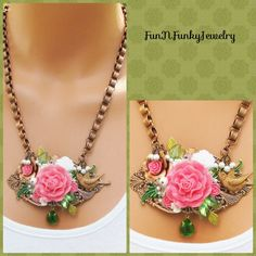 Copper and green necklace, book chain, flowers, bird, brass stamping