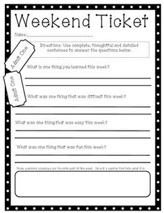 This is an exit ticket I have my students complete on Friday afternoons. I then grade for punctuation, complete sentences, Capital letters, etc. Parents love it too, because they can get some information about the school week. Enjoy for free :) If you like it you can follow my store at http://www.teacherspayteachers.com/Store/Lindsay-Felske