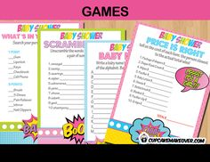 Add a ton of fun to your superherocomicthemed baby shower with this set of 4 games. WHAT YOU GET This listing is for 4PDF files with: Baby Names Race What's in Your Purse Baby Babble Word Scramble Price is Right INSTANT DOWNLOAD Immediately after purchase an email will be sent by Cupcake Makeover that lets […]