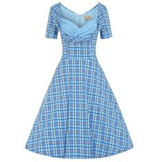 Sloane Blue Checked Swing Dress | Vintage Style Dresses - Lindy Bop