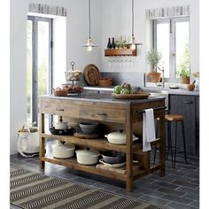 Like a treasured vintage find or a custom-designed piece, this elegant kitchen island serves as a rustic yet refined workstation for the home cook or entertaining enthusiast. Bluestone is crafted with (Decoration Pour Cuisine) New Kitchen, Vintage Kitchen, Kitchen Dining, Kitchen Ideas, Wooden Kitchen, Kitchen Cabinets, Kitchen Rustic, Kitchen Designs, Reclaimed Wood Kitchen