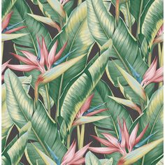 Arcadia Pink Banana Leaf Wallpaper - ELLEDecor.com