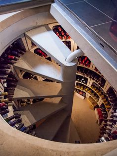 Others, Farmhouse Wine Cellar Spiral Staircase Also Concrete Staircase Material Also Black Tile Floor: Wine Bar with Refrigerator and other Ideas