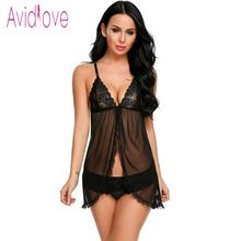 off  Avidlove Erotic Lace Underwear Sexy Lingerie Sexy Hot Erotic Babydoll  Dress Women Lace Open Front Night Gown Mini Sex Clothing 3ec2dffd6aa0