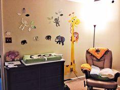 Jungle themed mural (giraffe for growth chart)