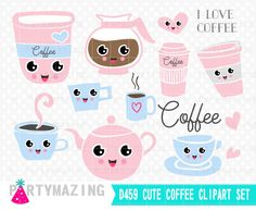 New from Partymazing on Etsy: Cute Coffee Clipart Set Coffee Planner Clip Art Set Instant Download D459 (4.99 USD) For more @partymazing