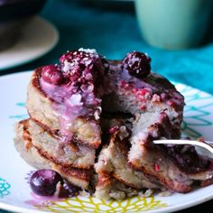 Pancakes are seriously made even more awesome with bananas, berries and cream- paleo coconut flour banana pancakes.