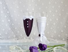 """Купить Бокалы """"Парочка"""" (в фиолетовом) - тёмно-фиолетовый, свадебные бокалы, бокалы для свадьбы"""