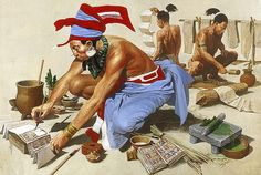 """""""Mayan scribe copies a text as others make and prepare paper"""", Louis S. Glanzman"""