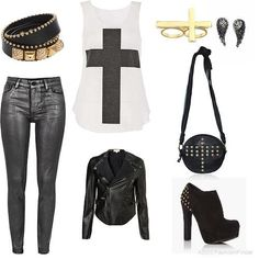 Minus the shoes and the purse....throw in a pair of black converse and I am totally there :)