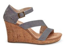 NEW Slate Blue Washed Twill Women's Clarissa Wedges
