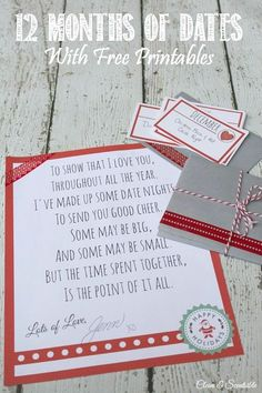 If you are looking for a meaningful Christmas gift idea for your loved ones, use these printables to create 12 months of dates to enjoy throughout the year.