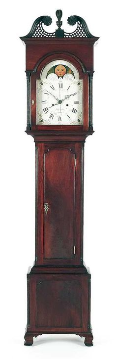 "Chester County, Pennsylvania Chippendale mahogany tall case clock, ca. 1795, the eight-day works, signed Benj Garrett Goshen, retaining an old mellow surface, 94 1/4"" h. Illustrated in Schiffer Furniture and its Makers of Chester County, Pennsylvania, fig. 47. Sold at Pook and Pook January 13-14, 2012."