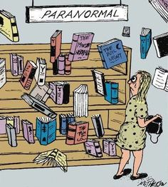 Funny paranormal book section cartoon