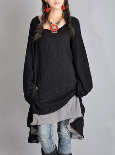 Black Gray Tops cotton upper wear women dress von fashiondress6, $78,00