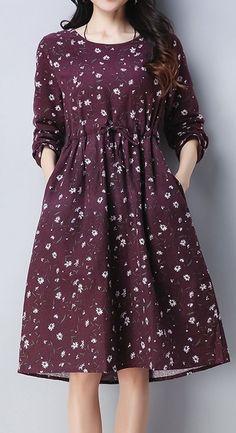 womens fashion Casual Chic - New Women loose fit retro flower purple dress pocket skirt fashion casual chic - Herren- und Damenmode - Kleidung Maxi Skirt Outfits, Womens Maxi Skirts, Dress Skirt, Midi Skirt, Wrap Dress, Chic Dress, Blouse Dress, Collar Dress, Skirt Fashion