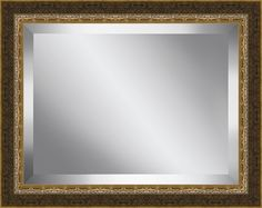 Crackled Brushed Framed Beveled Plate Glass Mirror