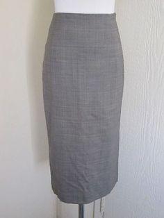 Banana Republic Size 0 Wool Stretch Long High Waisted Plaid Career Skirt | eBay