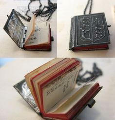 """Book necklace made from a 1906 mini-calender. By Erica Weiner (Text reads: """"This amazing necklace by designer Erica Weiner is a one-of-a-kind item made from a genuine 1906 mini-calender with holidays, moon phases and space for personal notes. Sold for $295."""")"""