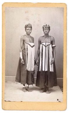 Africa, Two women, wearing South Nguni breast-covers. Studio Photograph ~ collection of Michael Graham-Stewart and Michael Stevenson