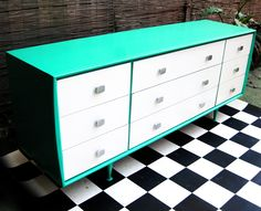 1960s Australian made Vintage Alrob Chest of Drawers upcycled in aqua green and white