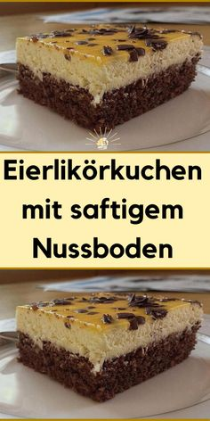 Eggnog cake with a juicy nut base- Eierlikörkuchen mit saftigem Nussboden Eggnog cake with a juicy nut base - Easy Vanilla Cake Recipe, Easy Cake Recipes, Cookie Recipes, Dessert Recipes, Brownie Recipes, Brownie Desserts, Easy Desserts, Homemade Chocolate, Chocolate Recipes