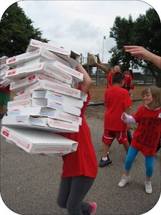Field day activities. Pizza delivery relay. Empty pizza boxes
