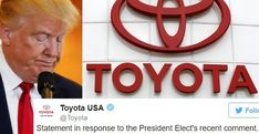 Trump Just Attacked Toyota. Their Response Is Perfect!!  We cannot allow this lying con artist to get away with painting himself as some kind of populist hero while he fills our government with the most notorious crony capitalists and greedy oligarchs he can find.